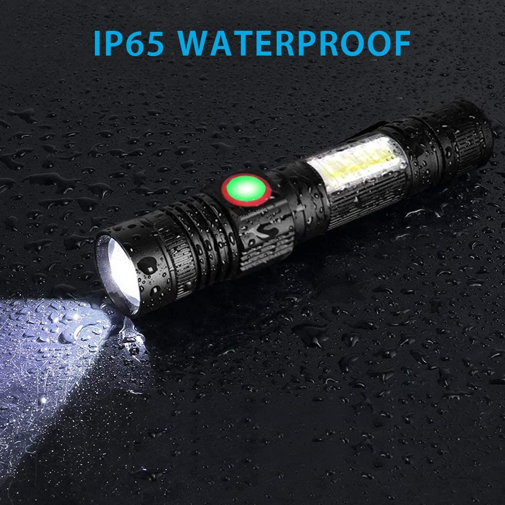 USB Rechargeable Flashlight 15000 Lumens Super Bright Magnetic LED Torch with Cob Sidelight a pocket clip Zoomable for Camping enlarge