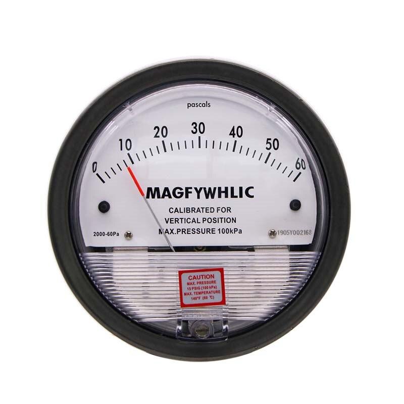 مقياس الضغط التبايني مايكرو مقياس الضغط التبايني مقياس الضغط التبايني دائرية مؤشر 0-60pa