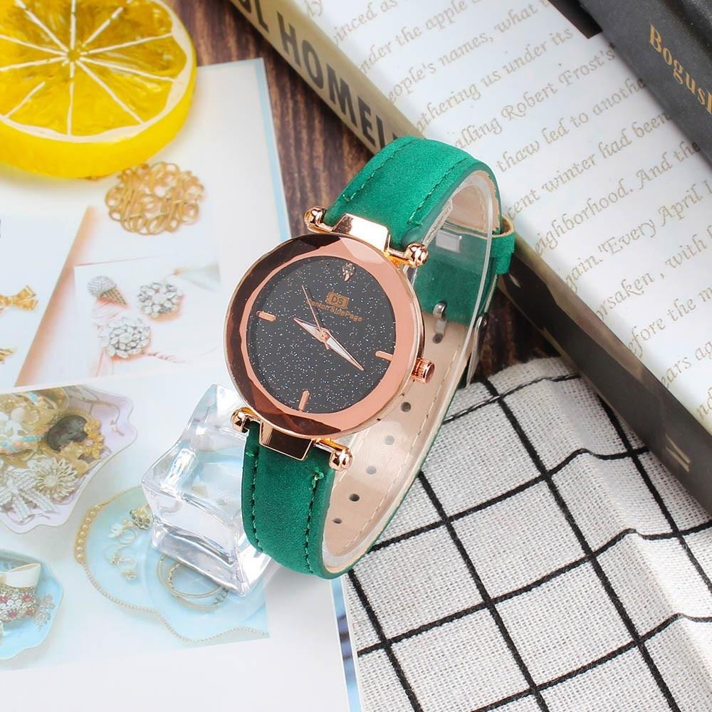 Fashion Korean Rhinestone Blue Ladies Quartz Watch Female Belt Watch Women's Watches Fashion Clock W