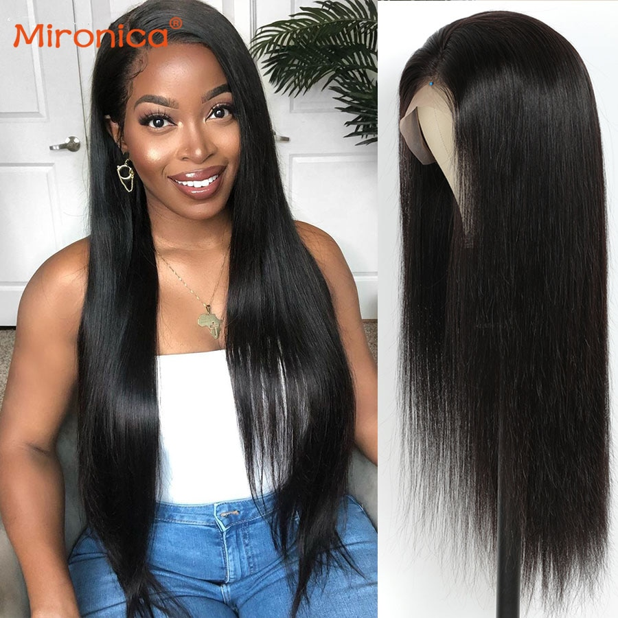 28 30 Inch Straight Wigs Lace Front Wig Straight T-Part Wig Lace Closure Human Hair Wigs Pre Plucked Lace Wig With Baby Hair