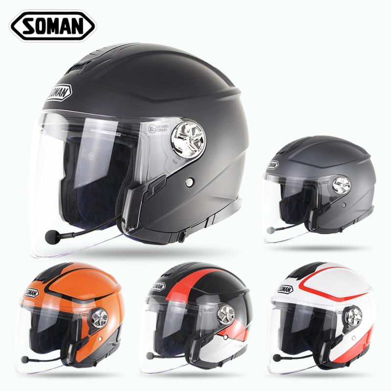 SOMAN 519 ECE Built-in Bluetooth Helmet Open Face Scooter Helmet Kask Female Motorcycle Halmet Capacete Moto Casco Double Visor