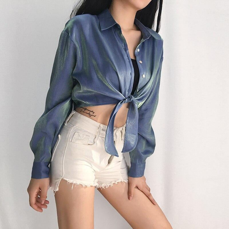 XUXI Verão 2020 Camisa Curta Mulheres Streetwear Casual Femme Sexy Blusa de Seda Brilhante Moda Single-breasted Hem Bandagem FZ2449