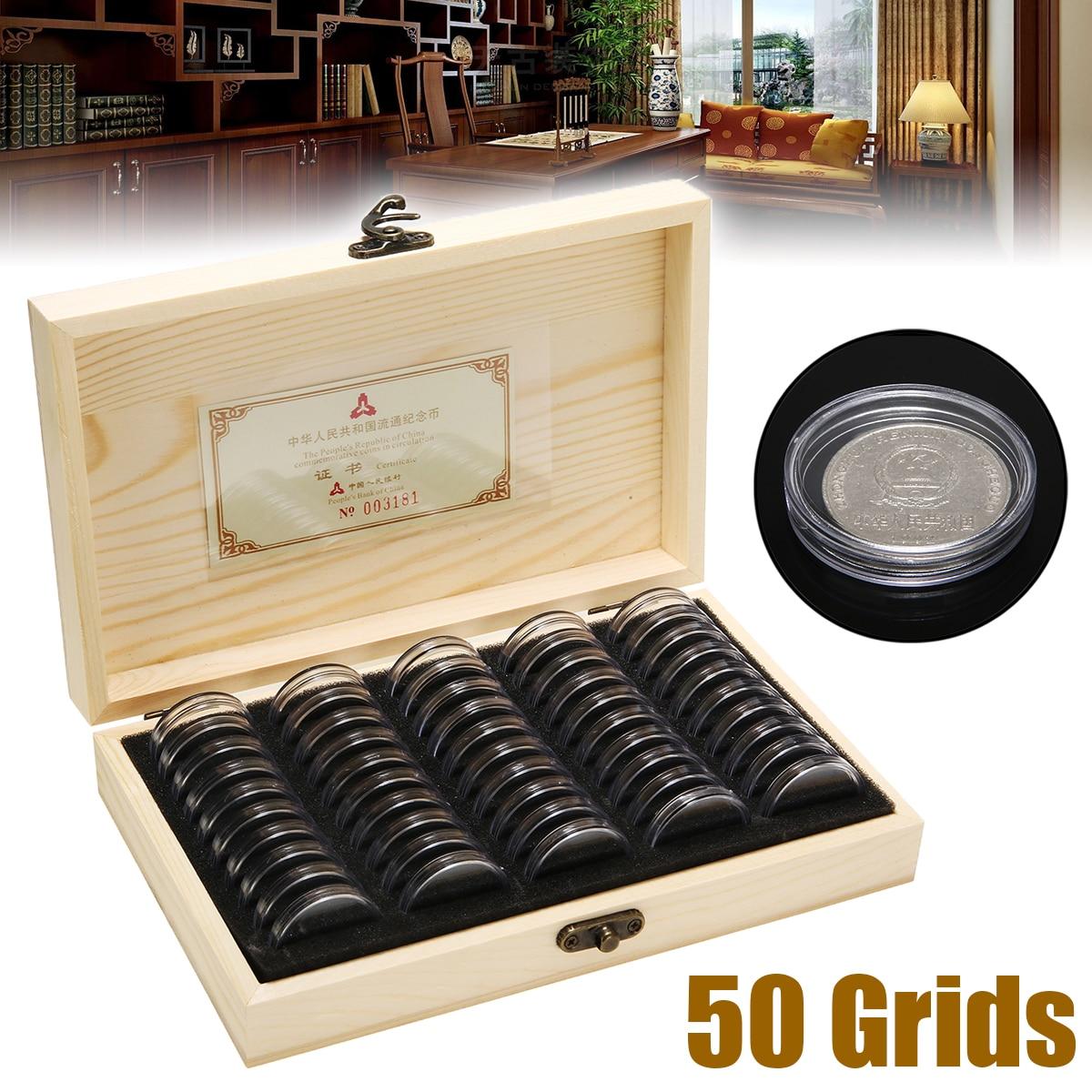 50 cápsulas de madeira moedas exibir caixa de armazenamento caso moeda proteção coleção caixa caixas universais ajustável 18/21/25/27/30mm