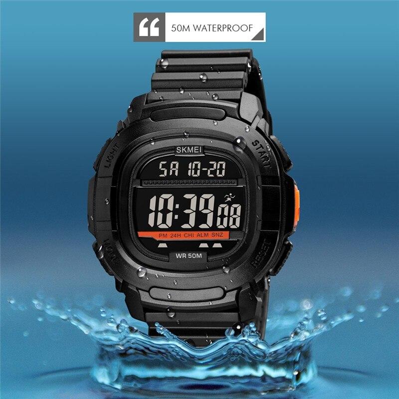 SKMEI الرجال مضيئة الساعات الرياضية الفاخرة العلامة التجارية التمويه الساعات العسكرية الرقمية LED مقاوم للماء ساعات المعصم Relogio Masculino