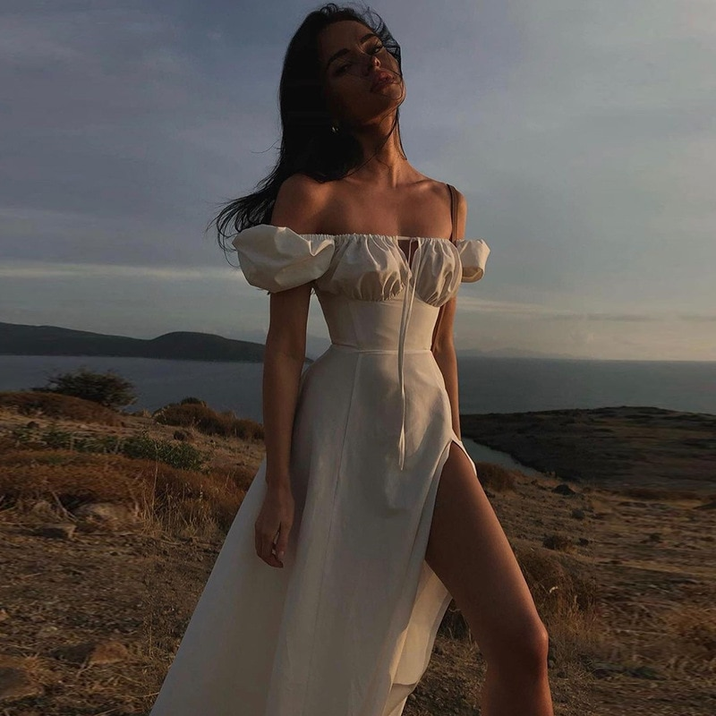 Летнее женское платье, сексуальное Повседневное платье, Белое Облегающее платье средней длины, Пляжное вечернее платье, платье для вечерин...