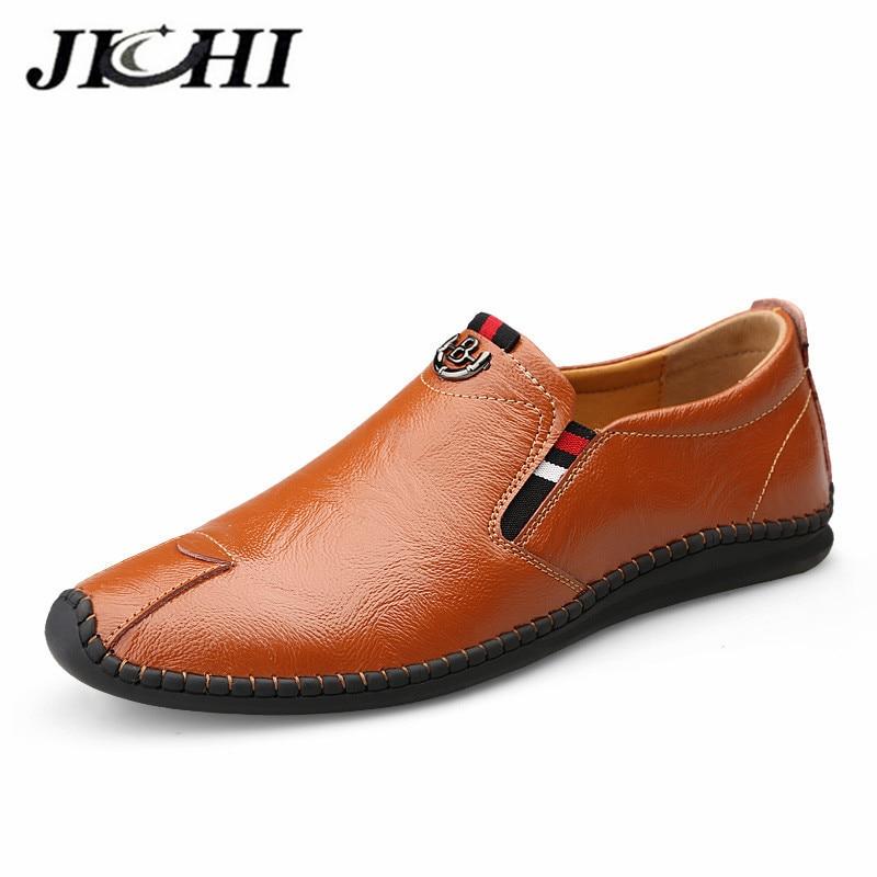 JICHI Mode Design Männer Schuhe Loafer Mokassins Atmungs Echtem Leder Schuhe Männer Komfortable Anti Slip Müßiggänger Männer Leder