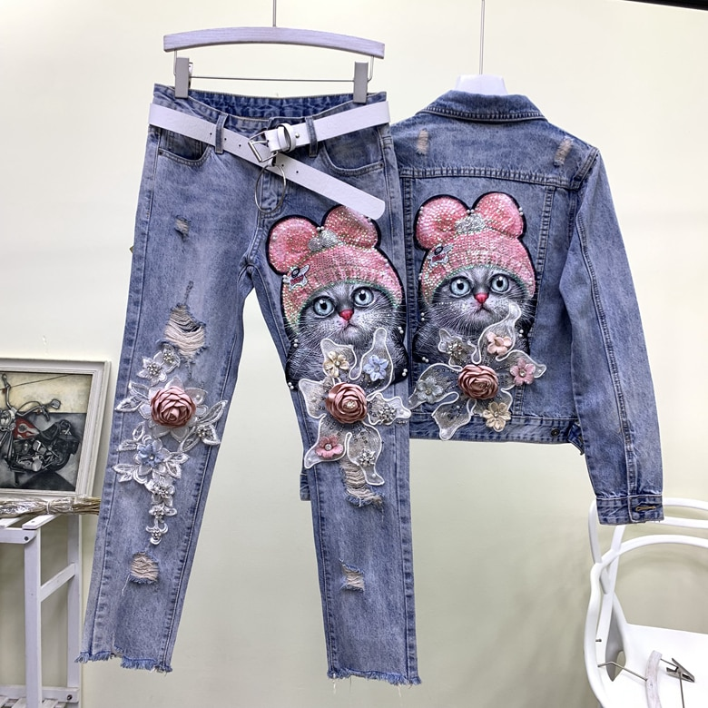 Europe And American Style Fashion Cute Sequins Kitty Cat Cartoon Flowers Applique Ripped Jeans Jacket And Pant Two-piece Suits