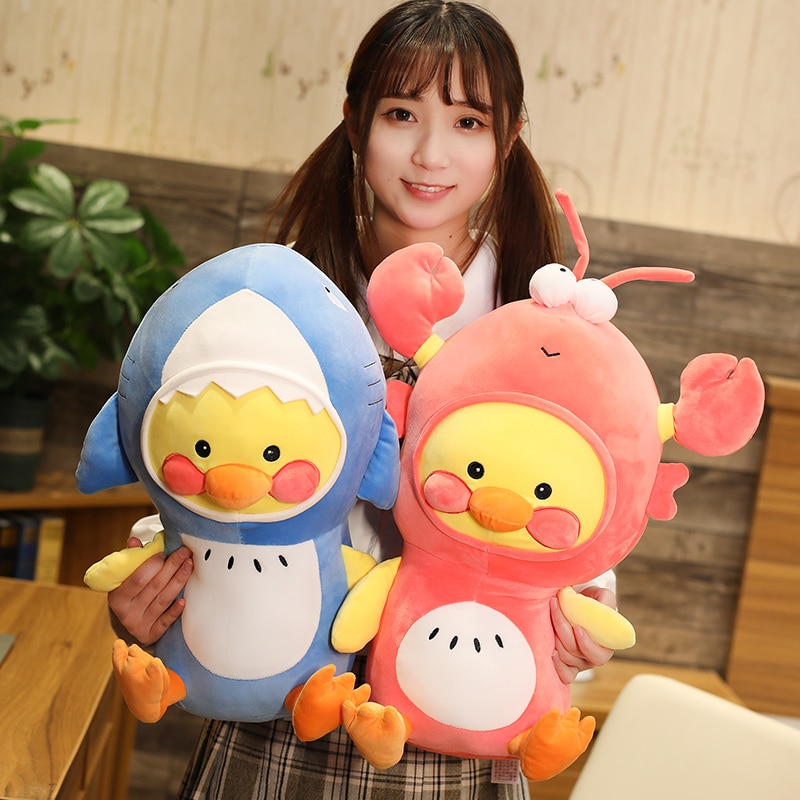 25-45cm pato de dibujos animados Cosplay tiburón langosta peluche muñeca coreana lindo Lalafanfan pato juguetes suave peluche Animal almohada regalo Kawaii