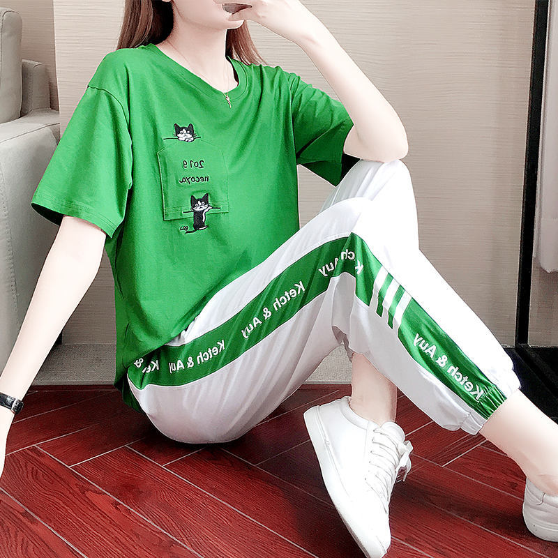 Russia Hot Sale Korean Summer Suit New Kpop Casual Two Piece Set  Fashion Trend Sportswear Femme 2 Pieces Pantalon Elegant