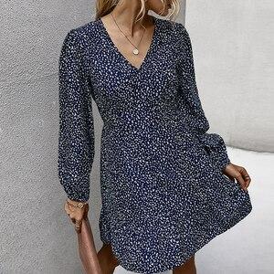 Женское платье, осень 2020, мини-платье, сексуальное, v-образный вырез, длинный рукав, принт, вечерние платья, Vestidos, повседневная женская одежда,...