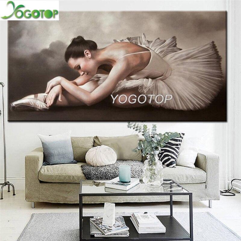 Diamant rond broderie ballerine fille motif diamant peinture 5D carré à la main cadeau image strass grand décor YY3006