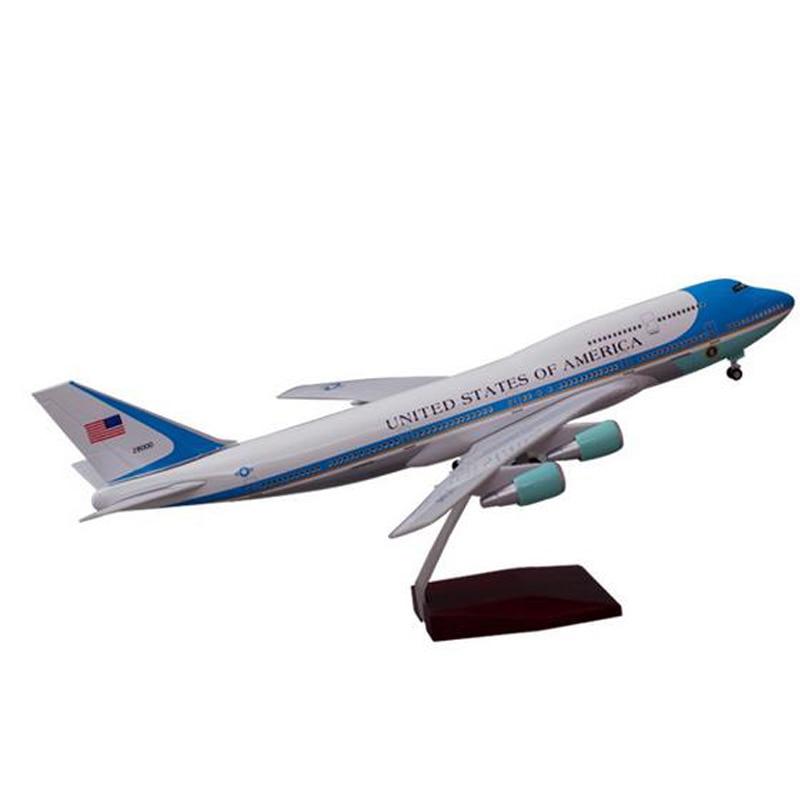 1/150 47cm B747 modelo de avión Air Force One modelo de avión con luz y ruedas resina modelo plástico de avión para colección de regalo