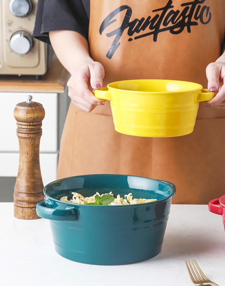 وعاء شوربة سيراميك على الطراز الاسكندنافي ، سعة كبيرة 8.5 بوصة ، وعاء سلطة للحلوى ، لوازم المطبخ المنزلية ، وعاء حجري