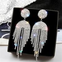 fyuan long tassel crystal drop earrings for women bijoux geometric full rhinestone earrings statement jewelry gifts