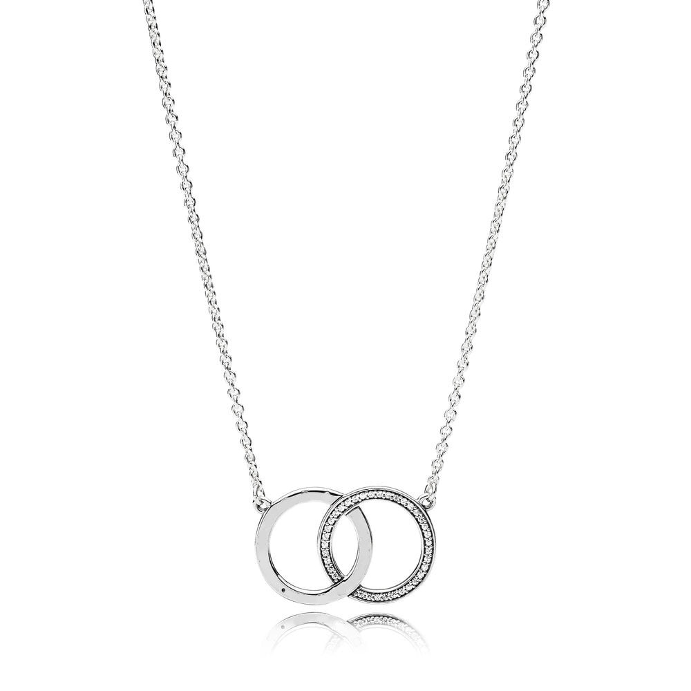 Classic Original Signature Logo 925 Sterling Silver Double Round Love Heart Pendant chains Link Necklaces crystal Gifts Jewelry