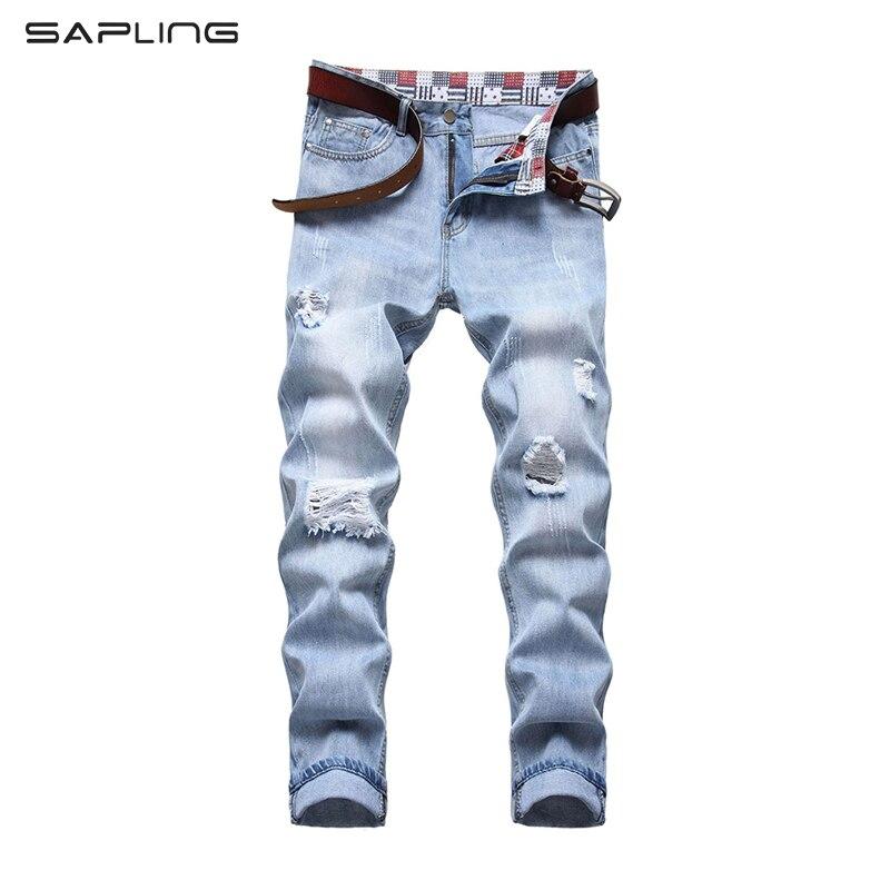 بنطلون جينز رجالي موضة ممزق مغسول جينز هيب هوب بانك مطاطي للدراجة بطول كامل عالي الجودة بثقوب مستقيمة من قماش الدنيم