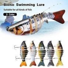 5 pçs iscas de pesca heavy-duty metal multi articulado nadar baixo de água salgada catfish pike muskie grande peixe pesca segmentada isca kit