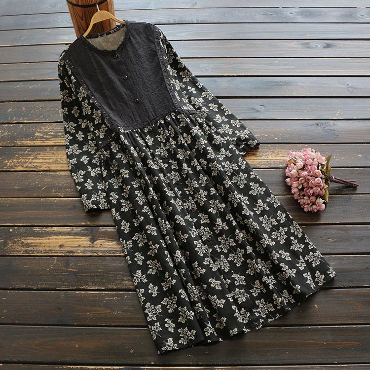 WYNNE GADIS otoño impresión floral suelta mujer chica Vestidos Vintage manga larga cuello redondo cuello A-Line Vestidos femeninos