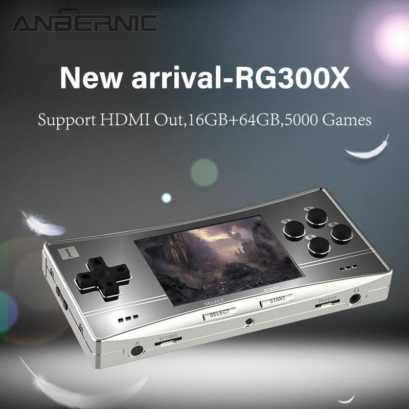 Anbernic-consola de juegos portátil Retro RG300X, pantalla IPS de 3,0 pulgadas, sistema OpenDingux Tony integrado, 5000 juegos clásicos, regalo de cumpleaños