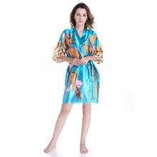 Animal Gedrukt Vrouwelijke Kimono Geisha Badjas Vrouwen Royal Blue Satijn Nachtkleding Zomer Nieuwe Mini Nachtkleding Met Dragon One Size