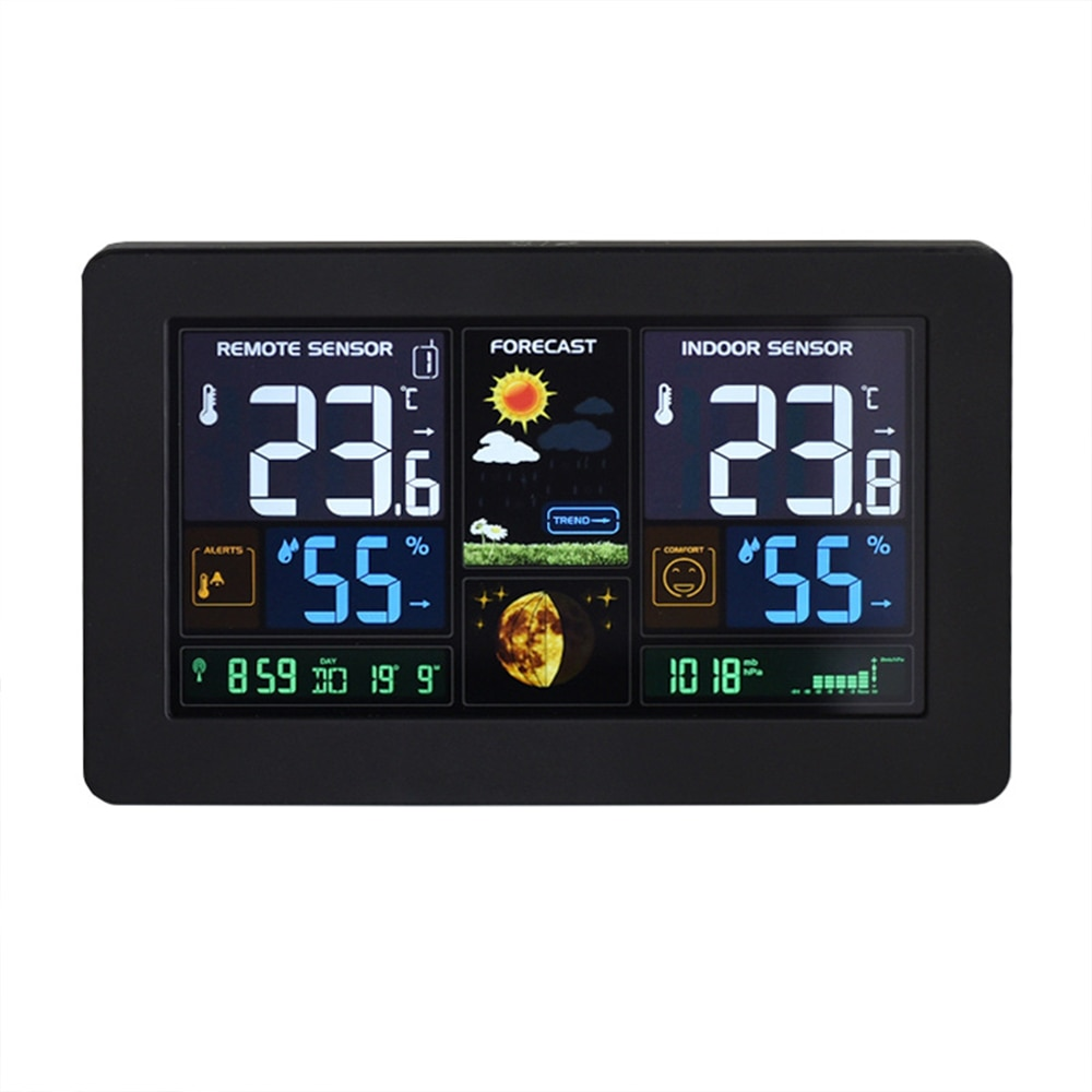 LCD Digital Thermometer Temperature Meter Home Weather Station Weather Forecast Barometer Time Alarm Clock Wireless недорого