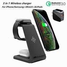 Qi 3 In 1 Draadloze Laadstation Voor IPhone12Pro/11pro/Xr/Xs/Airpods Pro/IWatch6/5 Draadloze Oplader Voor SamsungS10/Knoppen/Horloge