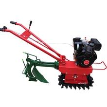 Farmland 170 petrol micro tiller + ditch plow, chain track crawler micro tiller overturn trench soil loosening tillage machine
