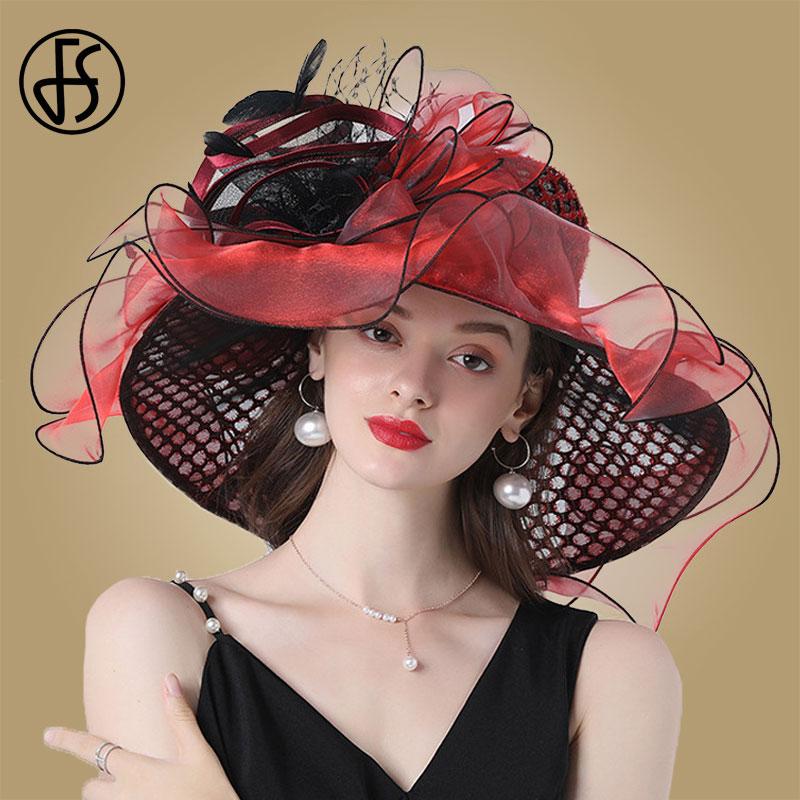 FS las mujeres de sombrero rojo tocados para boda elegante gran sombrero Fedora sombreros Kentucky Derby fiesta Formal señoras de la Iglesia sombrero