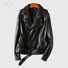 Novmoop haute rue style décontracté en peau de mouton noir en cuir véritable moteur biker veste femmes manteau avec ceintures décor casacos LT3163
