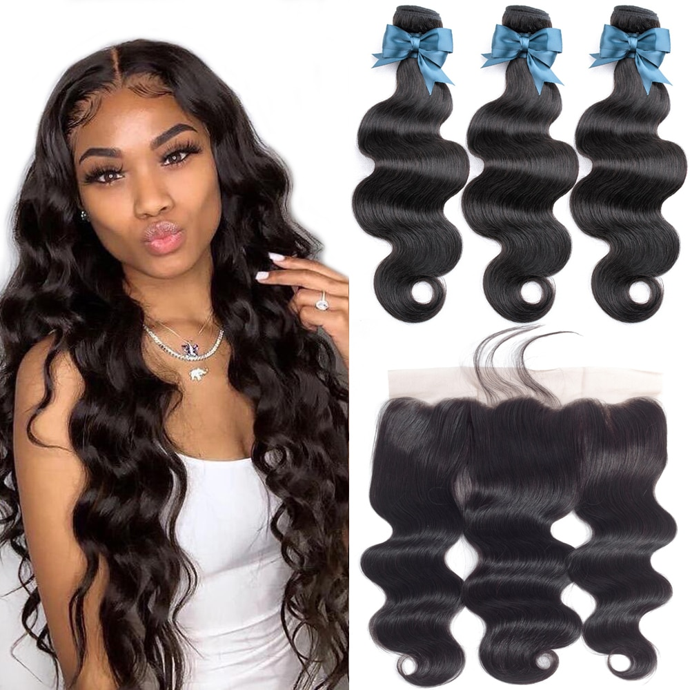 Brazilian Hair Weave Bundles With Frontal 36 Beaudiva Hair Brazilian Body Wave Human Hair 13x4 Lace Frontal Closure with Bundles
