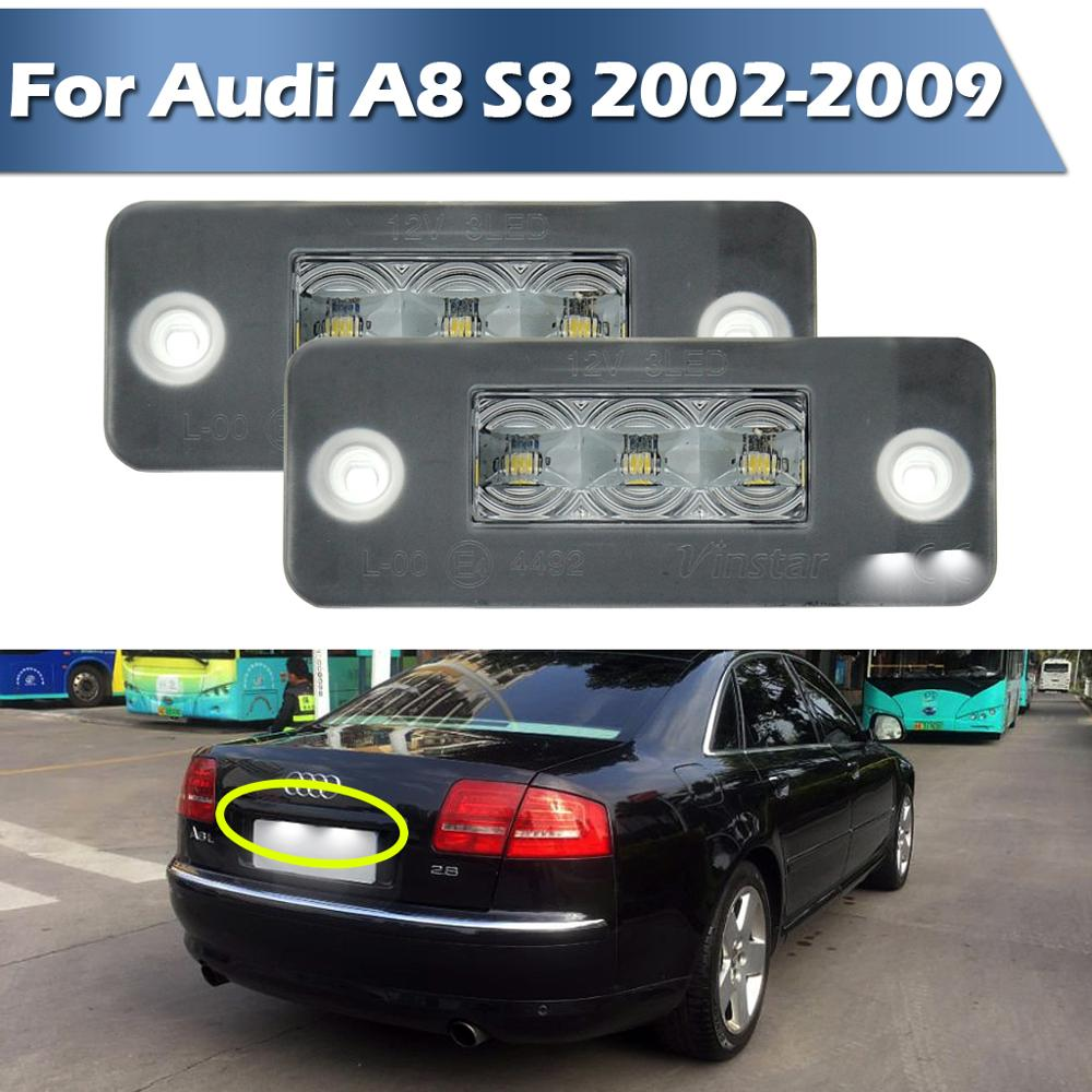 Éclairage de plaque dimmatriculation LED pour Audi A8 S8 2002-2009, alimenté par 3 pièces Osram xénon blanc LED & Can-bus sans erreur