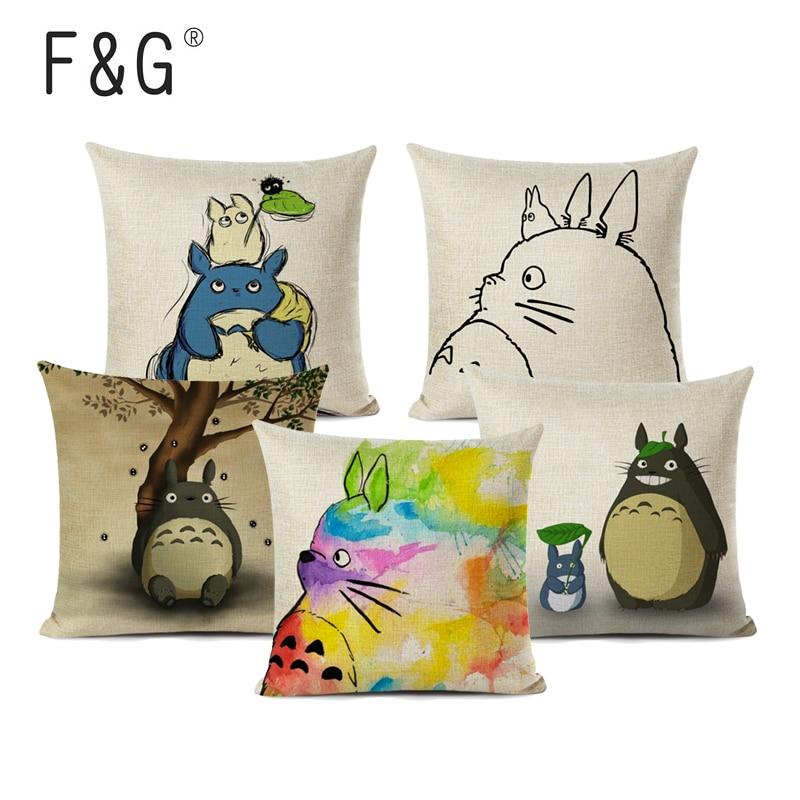 Модный декоративный чехол для подушки с мультяшным рисунком милый чехол для подушки с изображением Тоторо домашний декоративный чехол для подушки на Рождество