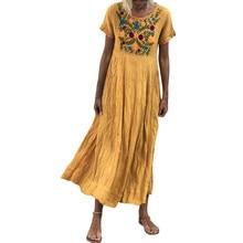 Summer Women Dress 2019 Vintage Sexy Bohemian Women Summer Vintage Short Sleeve O Neck Embroidered Casual Maxi Dress M-5XL