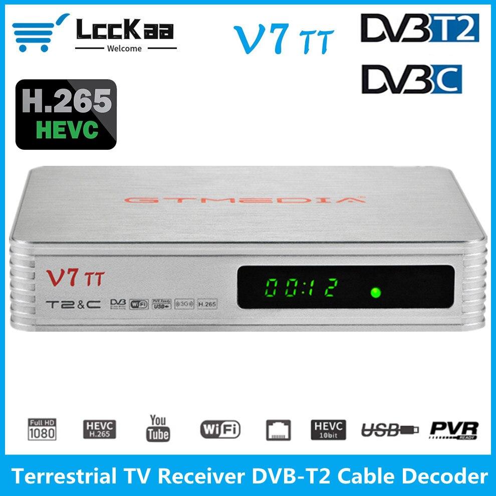 LccKaa-receptor de televisión terrestre V7 TT, decodificador de Cable de DVB-T2, H.265,...