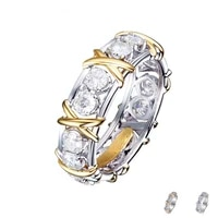 trendy exquisite sliver color purple crystal ring for women bridal wedding party anniversary gifts jewelry