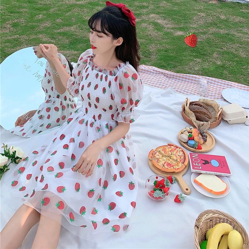Skirt Female Summer New Japanese Sweet Recipients Slim Puff Sleeve Strawberry Mesh Dress  sweet lolita  fairy kei  gothic dress