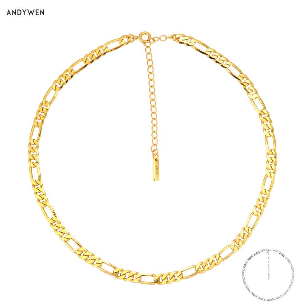 ANDYWEN 925 فضة 5 مللي متر سميكة سلسلة المختنق قفل الفاخرة قلادة كبيرة الأوروبية الفاخرة النساء روك مجوهرات بسيطة للنساء