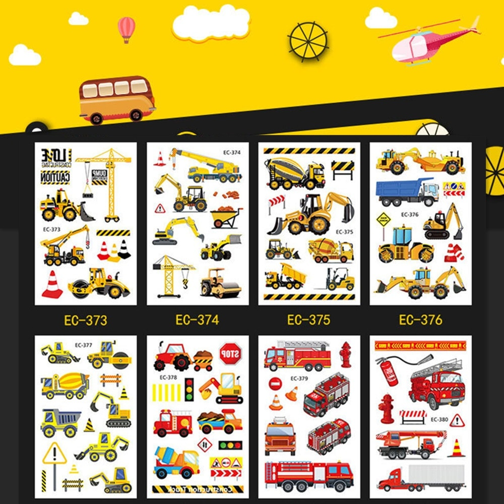 Фото - 20 kinds Automobile Vehicle Truck Temporary Cartoon Tattoo Kids Children Cognition Stickers faux tatouage temporaire Disposable 10 kinds glitter powder tattoos children cartoon cars dinosaurs unicorns mermaid animal robot temporary body stickers disposable