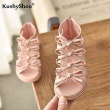KushyShoo Girls Sandals Soft Leather Korean Children's Sandals 2020 Summer New Princess Baby Sandals