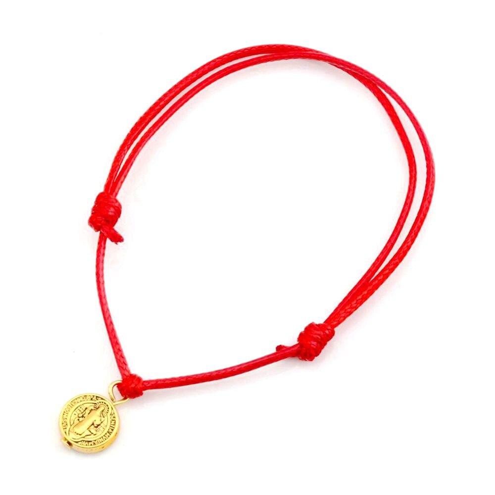 20 pçs antiga liga de ouro tom saint benedict redondo medalha encantos corda cera vermelha boa sorte pulseiras ajustáveis B-37