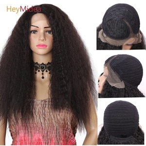 24Inch Synthetic Long Kinky Straight Wig  Front Lace Wigs T Part Fluffy Hair Natural Black For Women HeyMidea