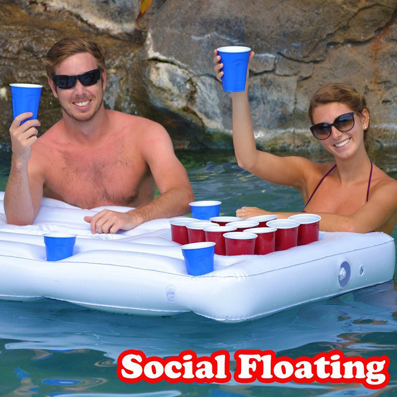 24/28 Cup Holder Inflatable Beer Pong Table Pool Float Summer Water Party Fun Air Mattress Cooler Float EDF