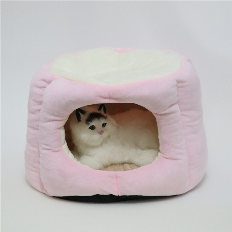Pet Kennel Round Stump Shape Type Warm Plush Princess Cat Cushion Kennel Sofa With Pillow Puppy House Sleeping Bag Dog Bed