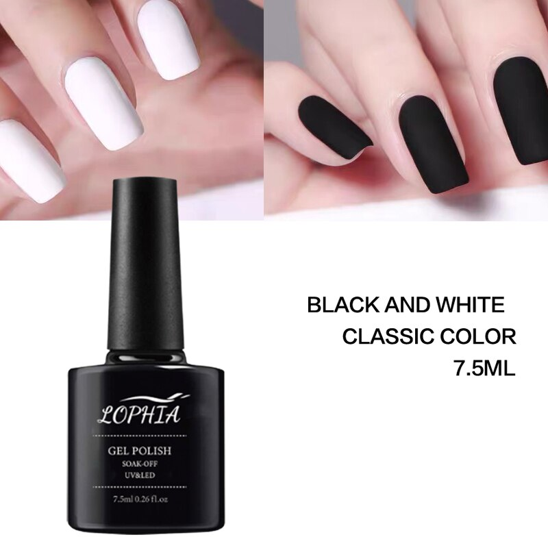 LOPHIA Classic Black White Color Gel Nail Polish 7.5ML Soak Off UV Varnish Gel Paint Manicure Semi Permanent decoration Design