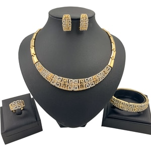 Dubai African Jewelry Sets Luxurious Gold Necklace Ring Earring Bracelet Jewellery Set Crystal for Women Girls