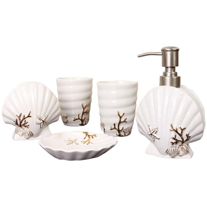 5-Piece Ceramic Bathroom Set Toothbrush Cup Toothbrush Holder Soap Dispenser Soap Dish Hotel Decoration Bathroom Accessories enlarge