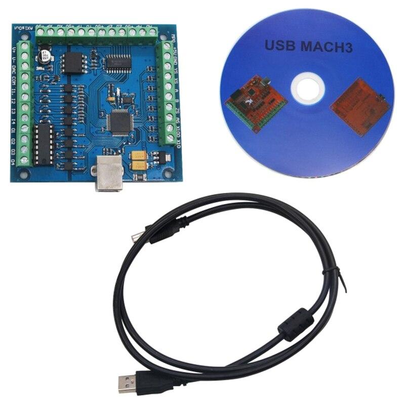CNC MACH3 USB 4 eje de 100KHz USBCNC suave paso a paso tarjeta controladora de movimiento Placa de adaptación para CNC grabado 12-24V