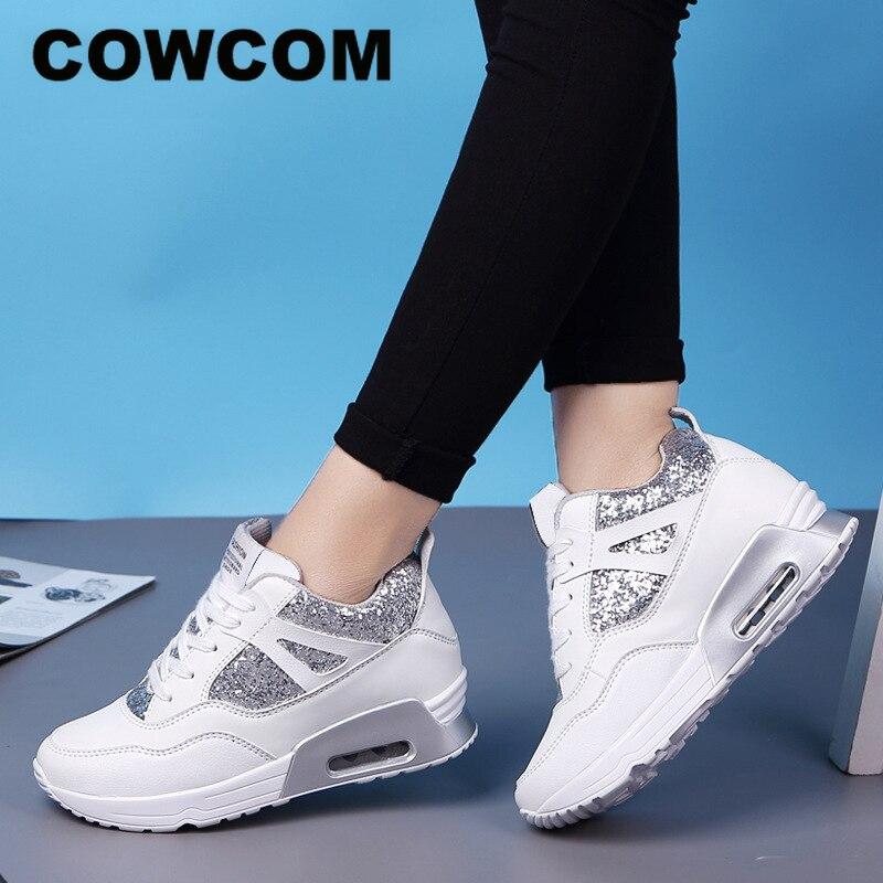 COWCOM zapatos de mujer elevados de primavera zapatos para correr con colchón de aire transpirable lentejuelas de suela gruesa zapatos deportivos informales