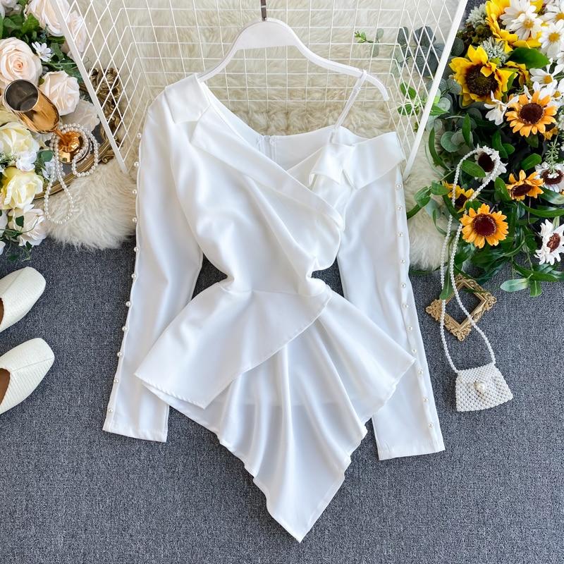 Tempérament des femmes perlé chemise complète conception féminine épaules dénudées irrégulier cranté haut bureau dame solide hauts et chemisiers ML670