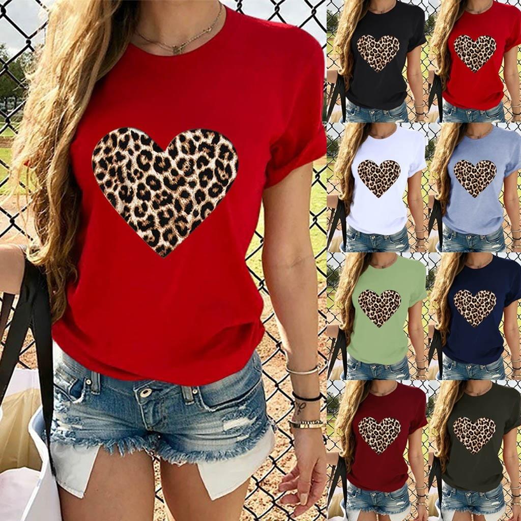 Fashion T Shirt Women 2019 New Fashion Leopard Print Cheap Tshirt O Collar Short Sleeve Ladies T-shirt Vestidos De Festa#P30
